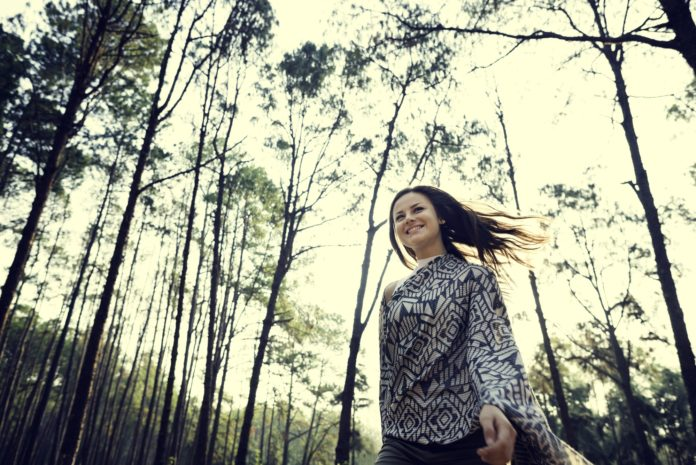 Girl Exploring Freedom Outdoors Concept